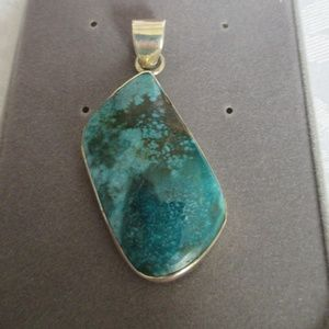 """Green Copper Turquoise .925 Silver Pendant 2 3/8"""""""